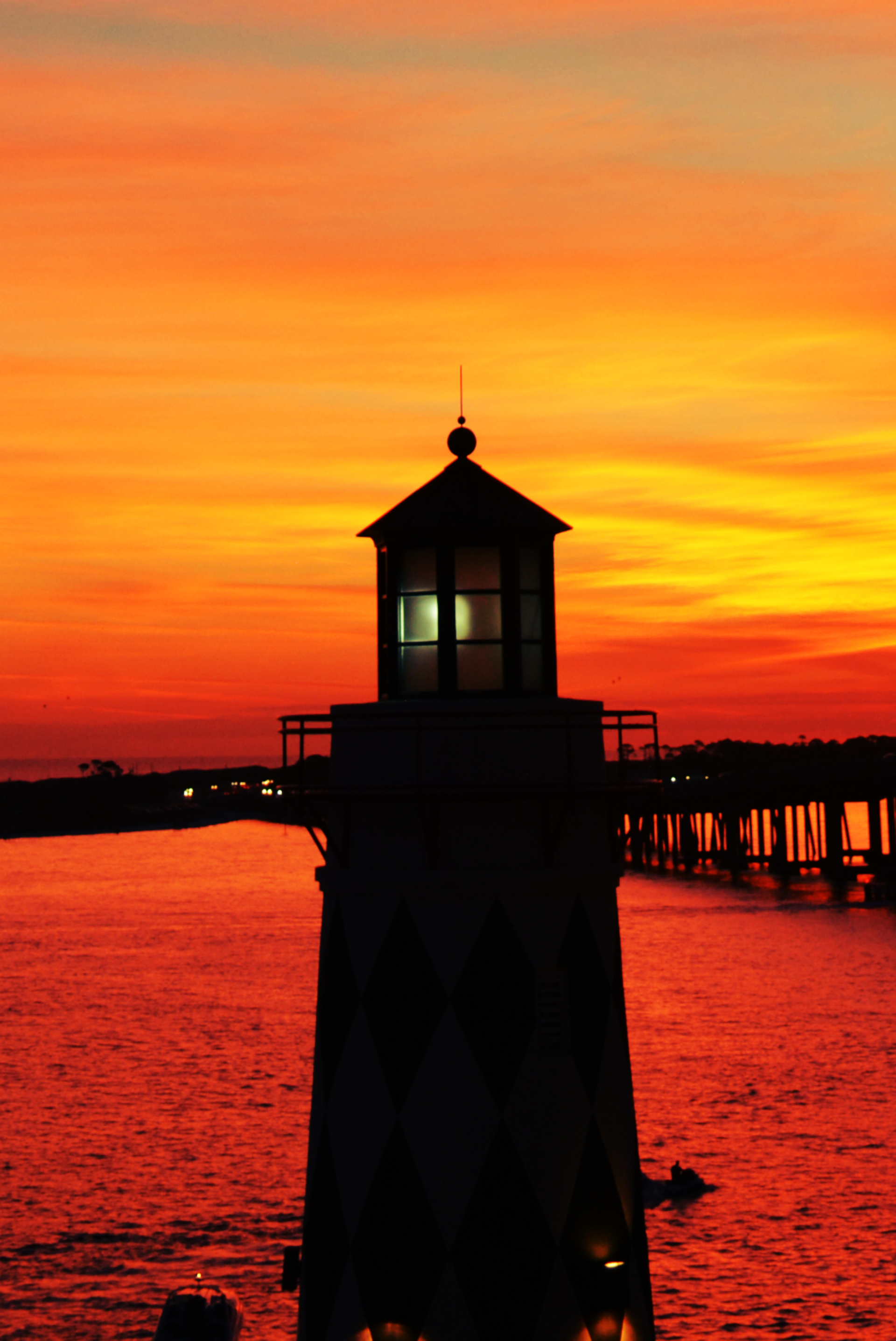 View of lighthouse at sunset