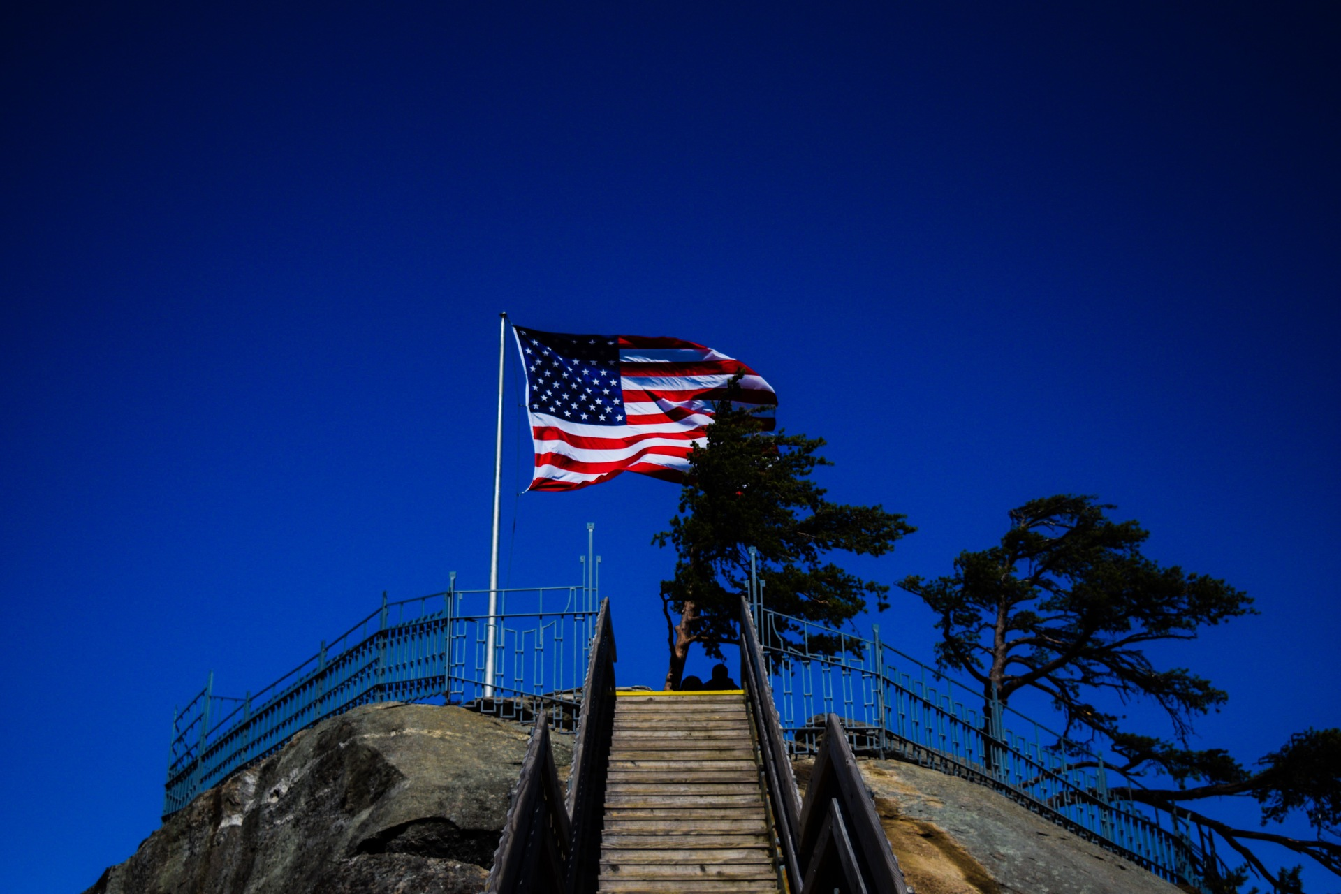 American flag | travel, sun, sky, outdoors