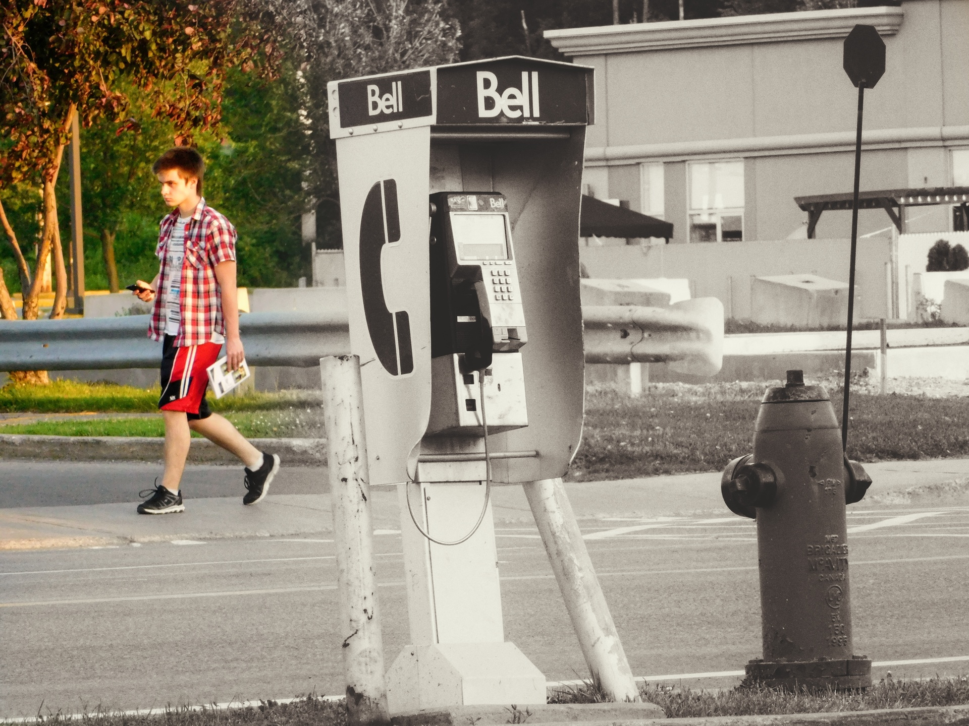 Cellphone versus Phone booth | rick.cognyl.fournier, man, outdoors, people