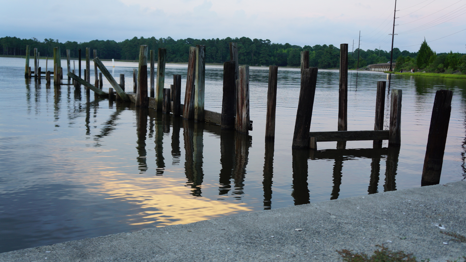 Busted pier on the creek