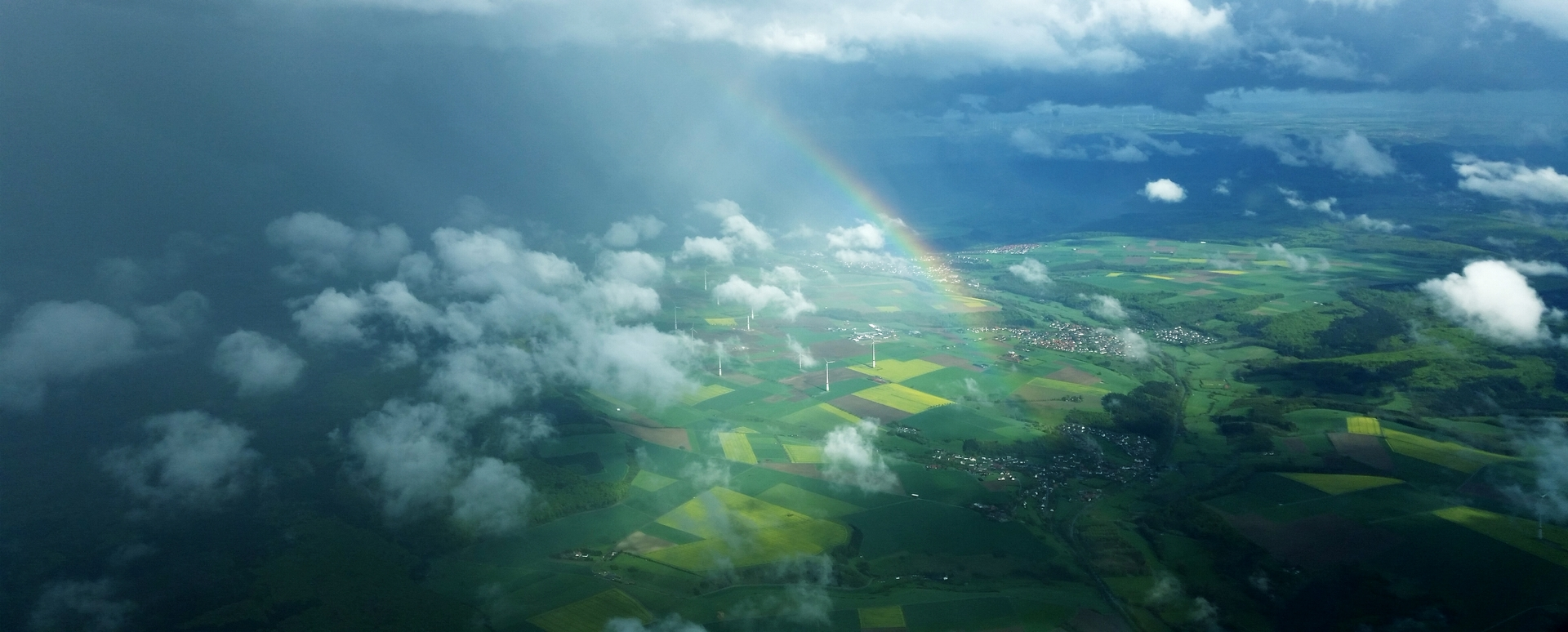 Ariel view of landscape | rainbow, farm, agriculture, cloud