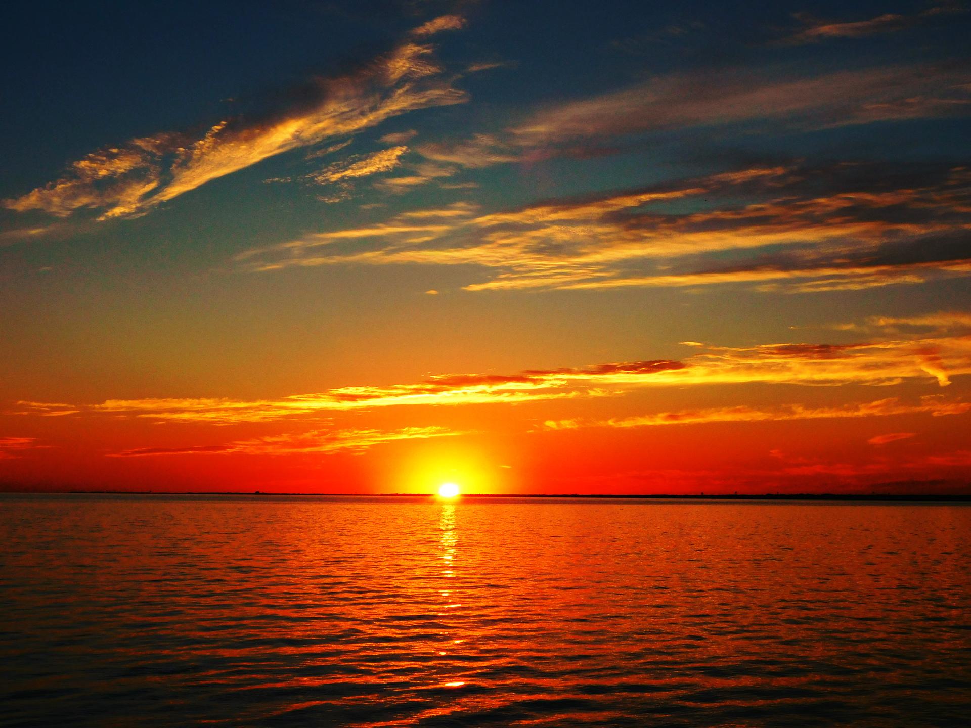 Dramatic sky during sunset | sea, beach, water, idyllic