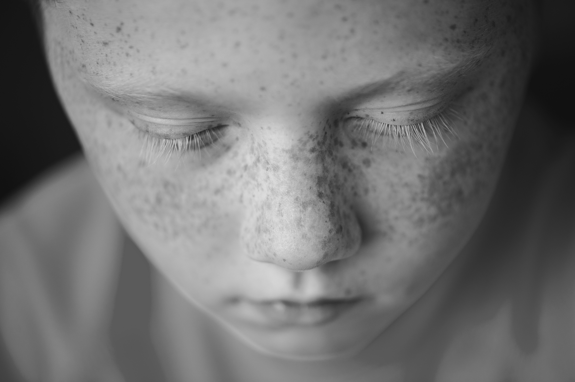 Freckles  | estranged, black and white, face, facial expression