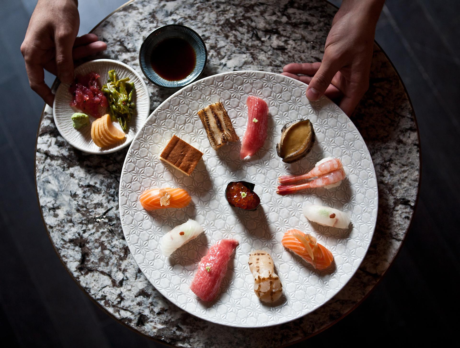 Japanese sushi! | plate, luxury, food, flatlay
