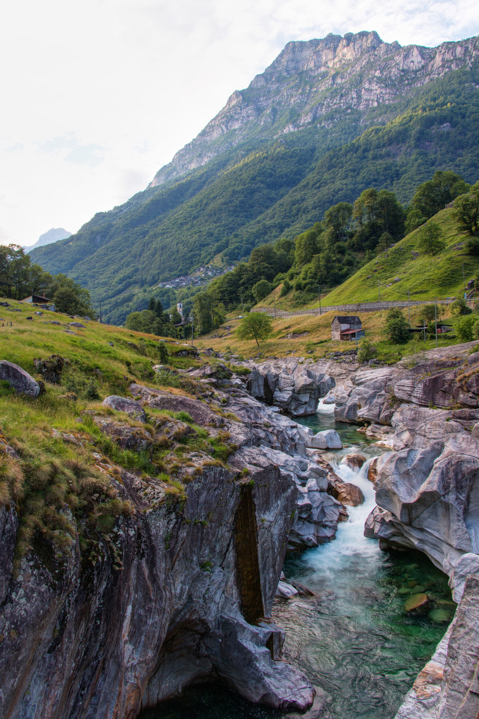 River flowing through rockys in landscape