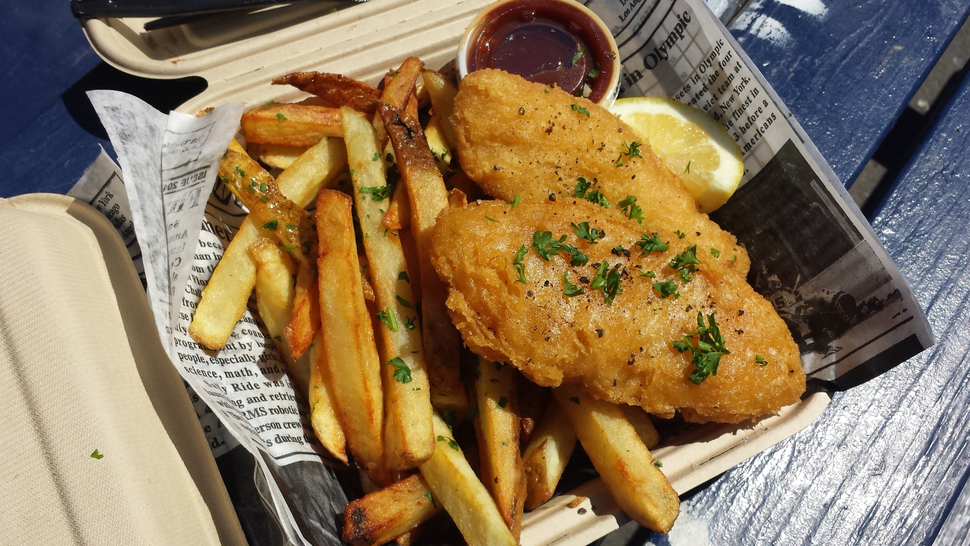 fresh fish and chips dinner