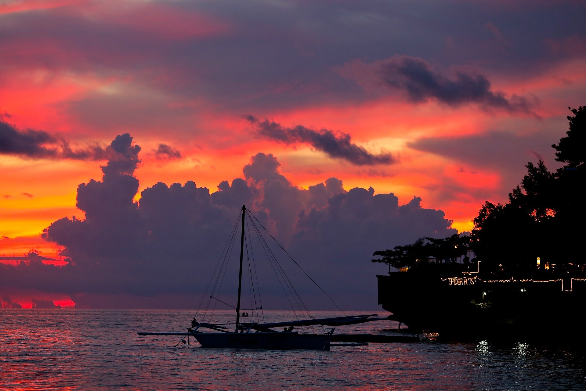 Fantastic sunset. Incredible island's sunset. Diniwid Beach, Boracay, Philippines.