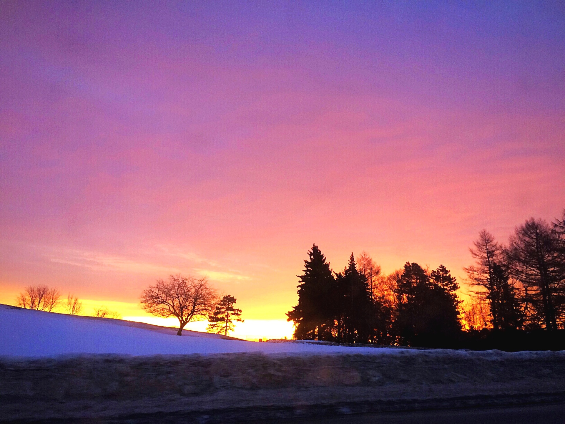 Winter morning sky and landscape