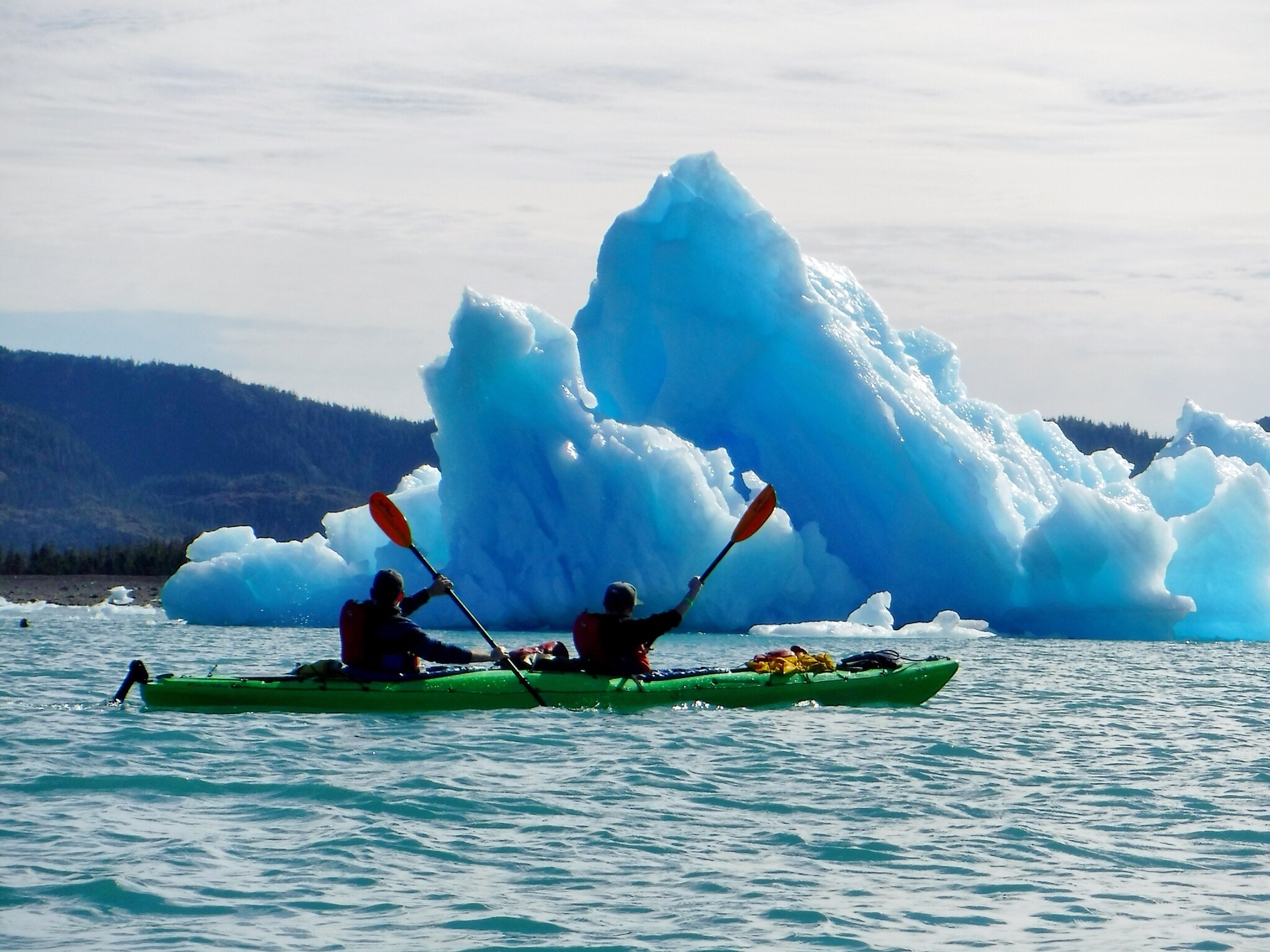 Sea kayaking amongst glacial icebergs in Prince William Sound