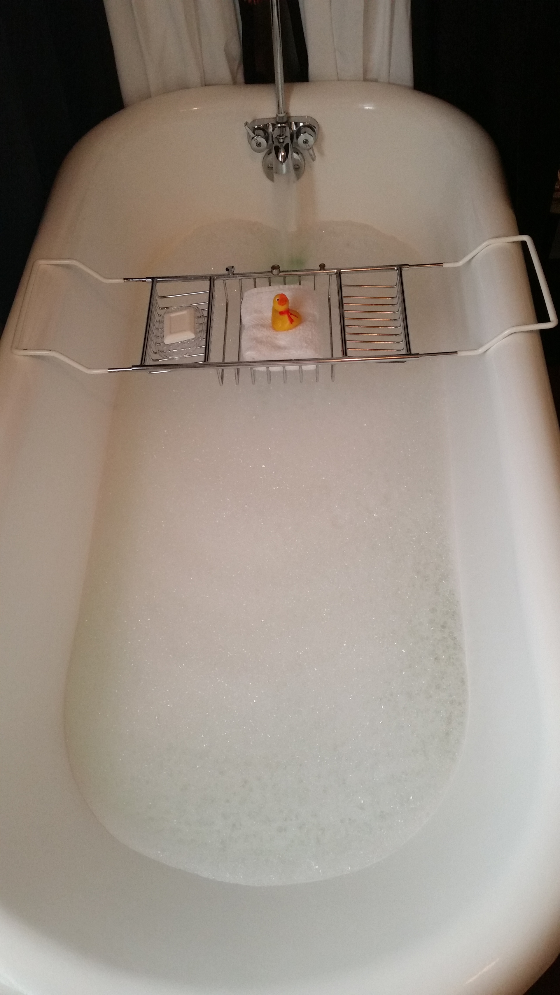 bubble bath. with rubber ducky